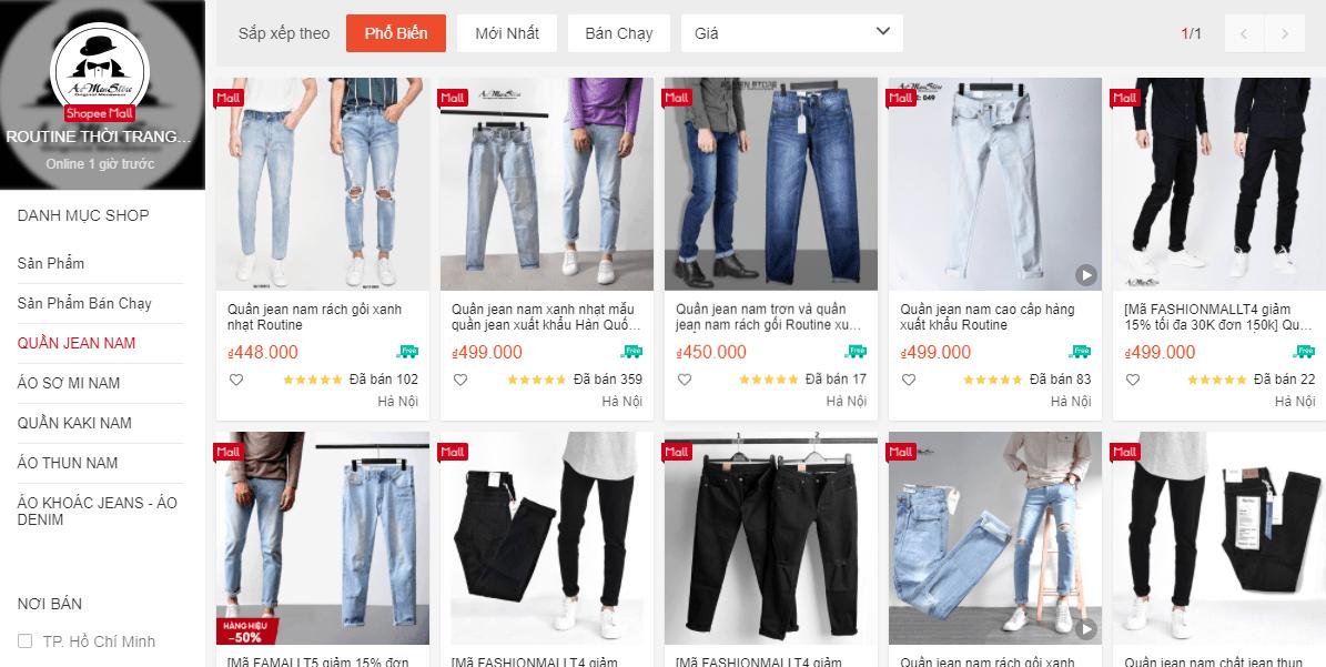 Shop ROUTINE THỜI TRANG NAM trên shopee