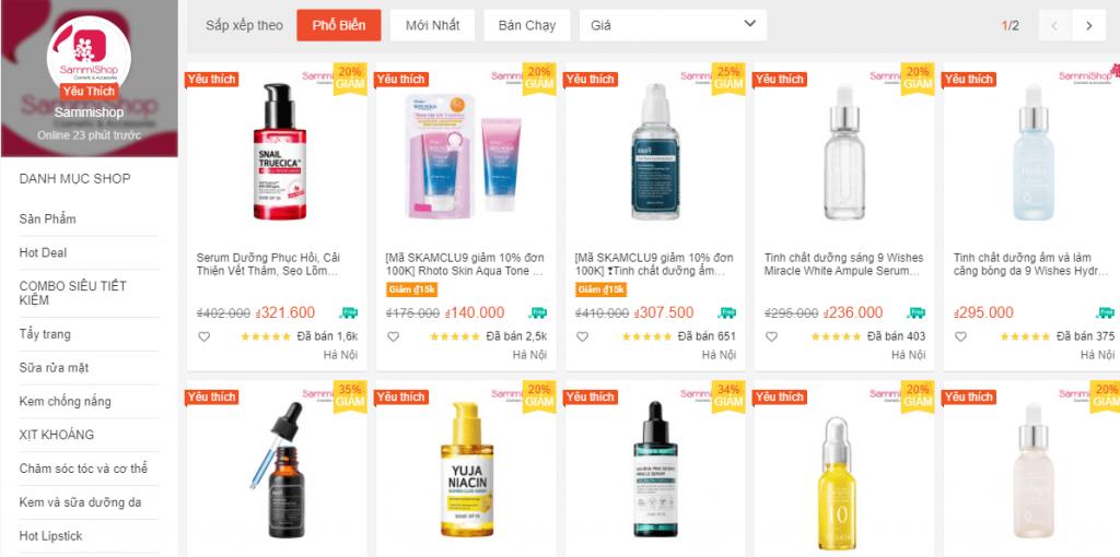 Sammishop - Shop bán đồ Skincare uy tín trên Shopee giá rẻ