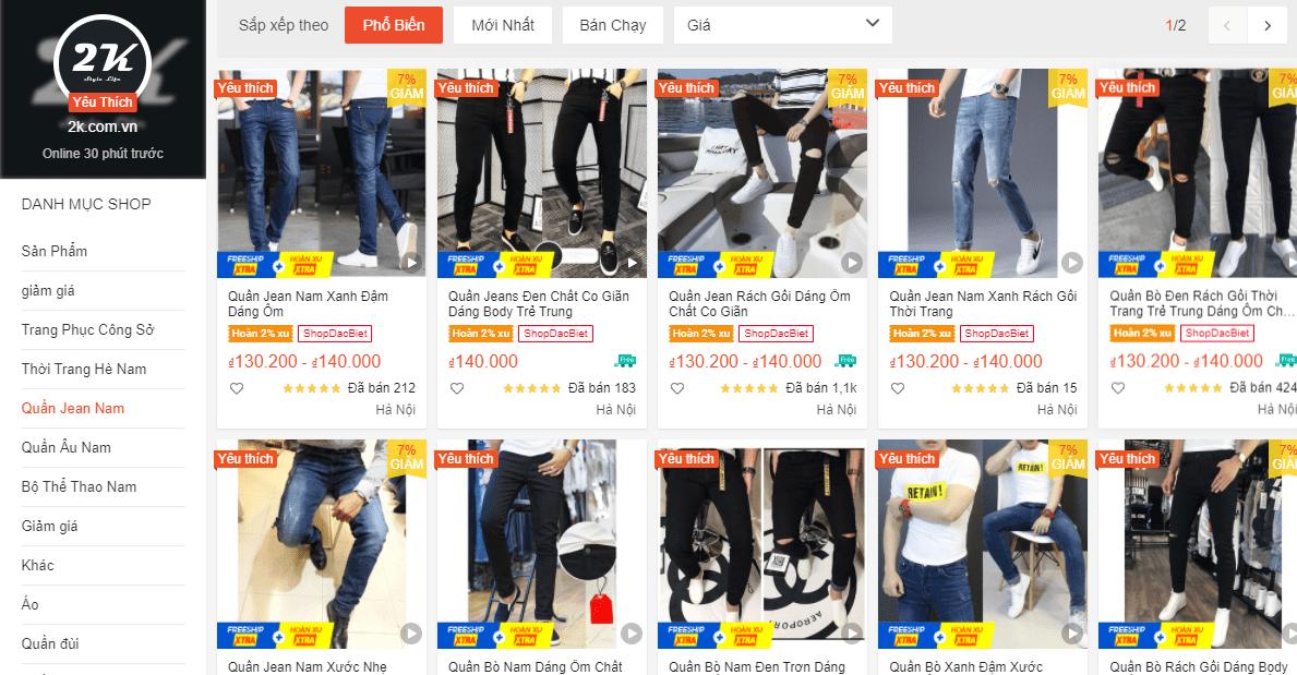 Shop 2k.com.vn bán quần jean nam đẹp trên shopee